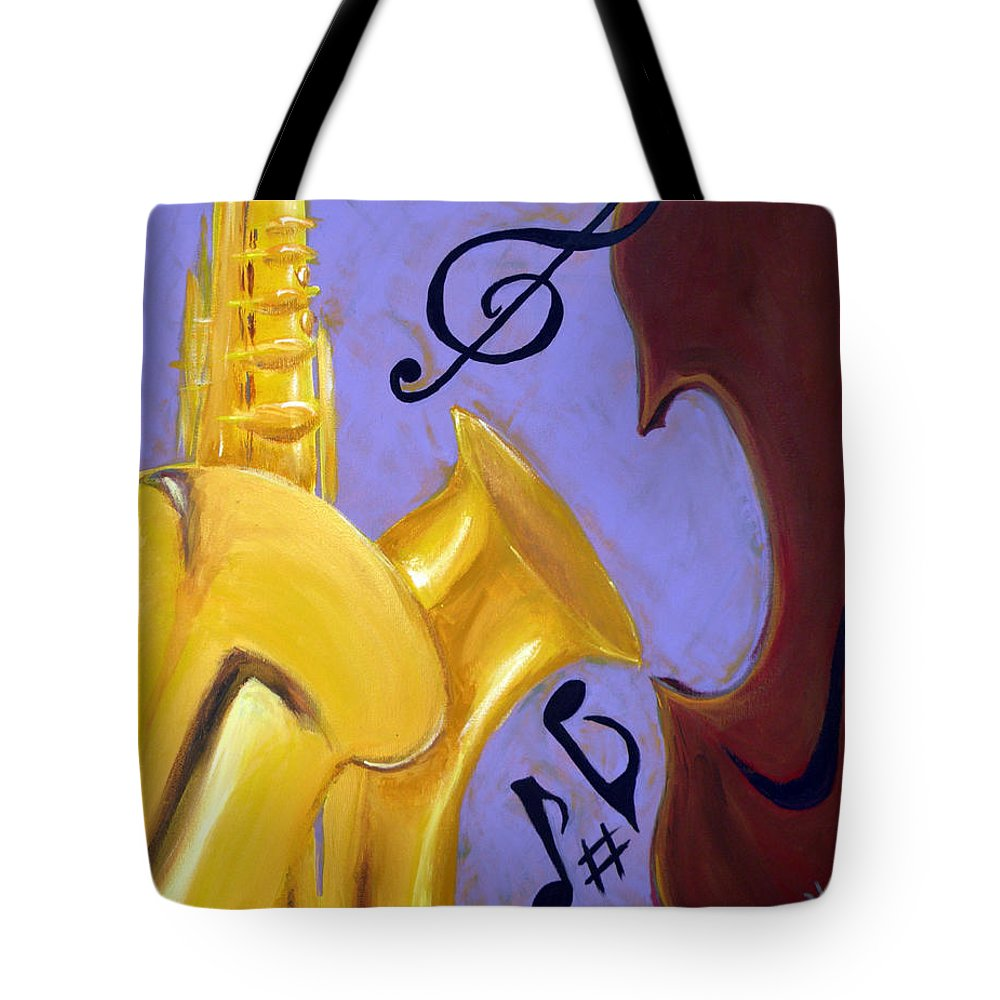 Music Tote Bag featuring the mixed media Mellow Me by Kayon Cox