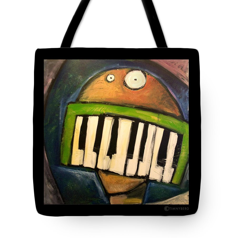 Funny Tote Bag featuring the painting Melodica Mouth by Tim Nyberg