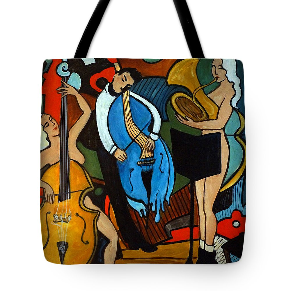 Musician Abstract Tote Bag featuring the painting Melting Jazz by Valerie Vescovi