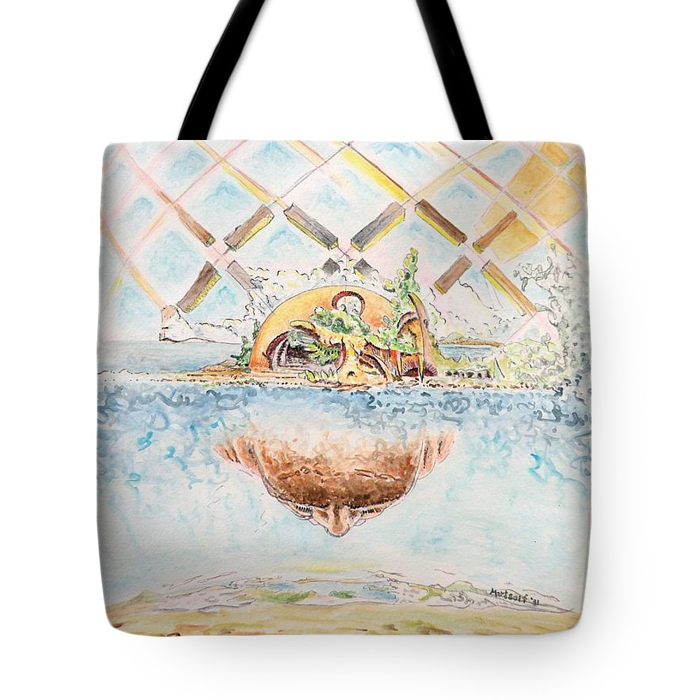 Watercolor Tote Bag featuring the painting Meme Brain by Dave Martsolf