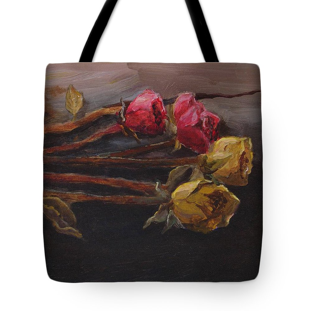 Memento Tote Bag featuring the painting Memento by Jun Jamosmos