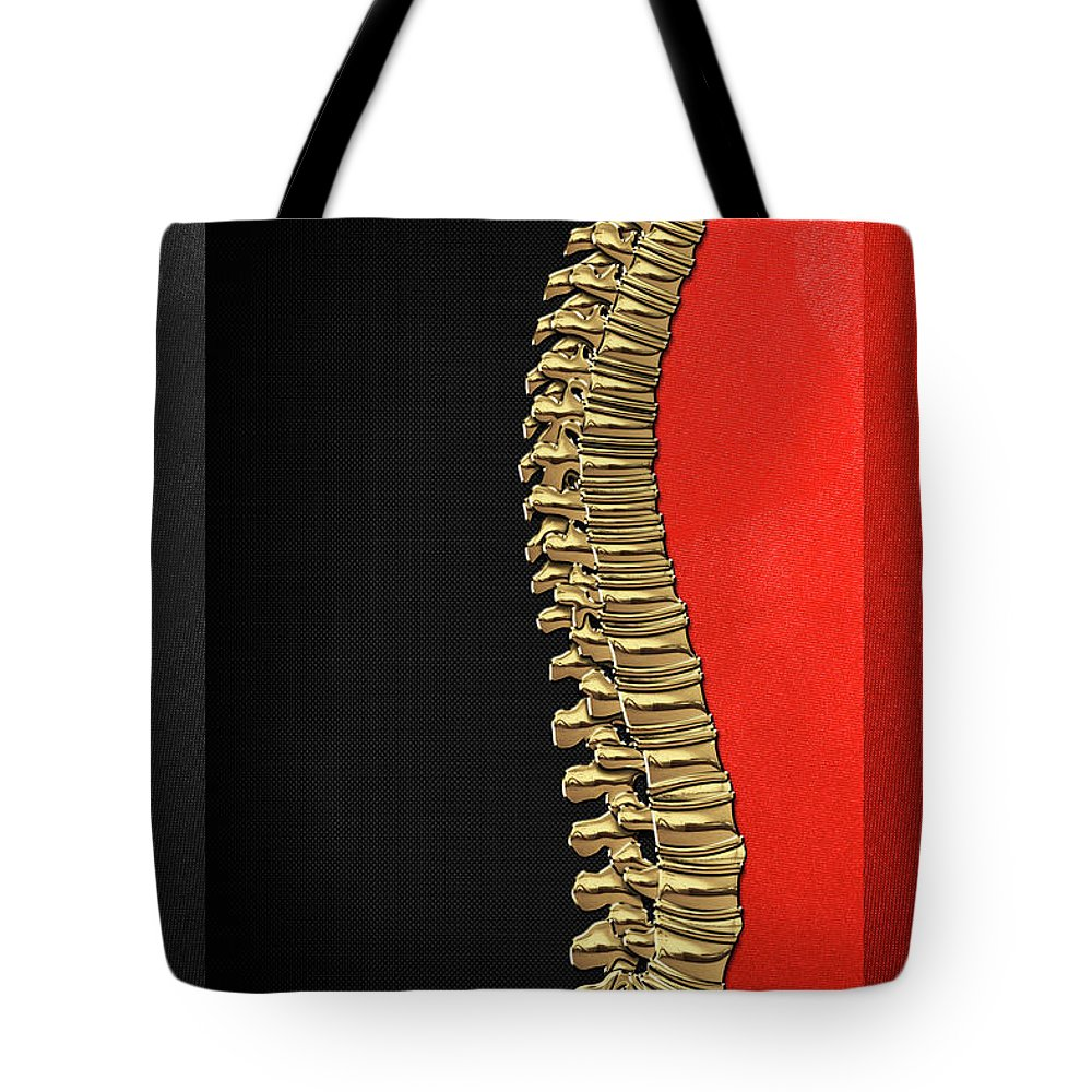 'memento Mori' Collection By Serge Averbukh Tote Bag featuring the digital art Memento Mori - Gold Human Backbone Over Black And Red Canvas by Serge Averbukh