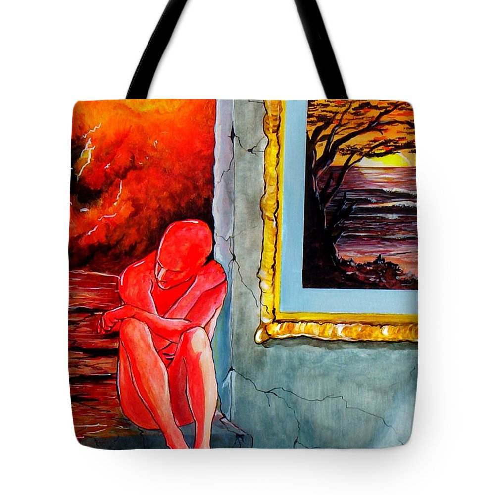 War Sunset Bombs Explosion Wait Loneliness Frustration Tote Bag featuring the painting Memoirs Of A Bloody Sunset by Veronica Jackson