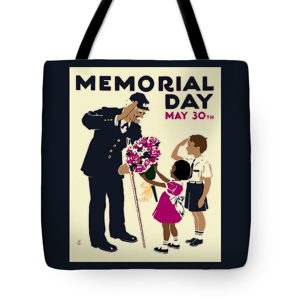 Memorial Tote Bag featuring the digital art Memorial Day Poster Wpa by Joy McKenzie