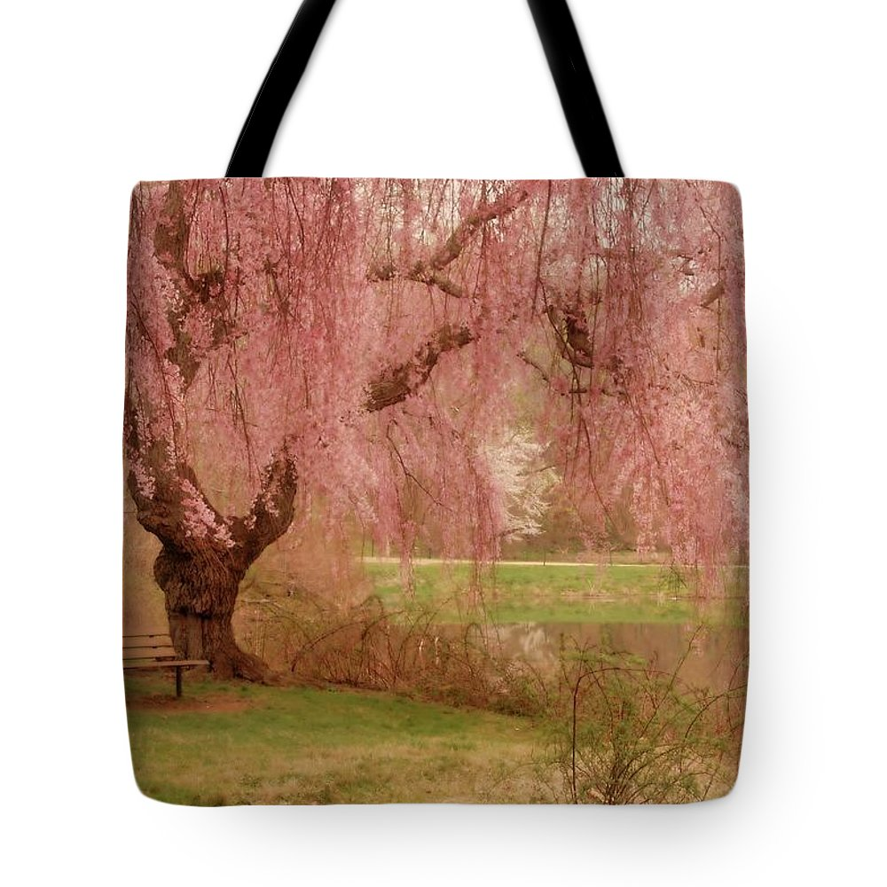Cherry Blossom Trees Tote Bag featuring the photograph Memories - Holmdel Park by Angie Tirado
