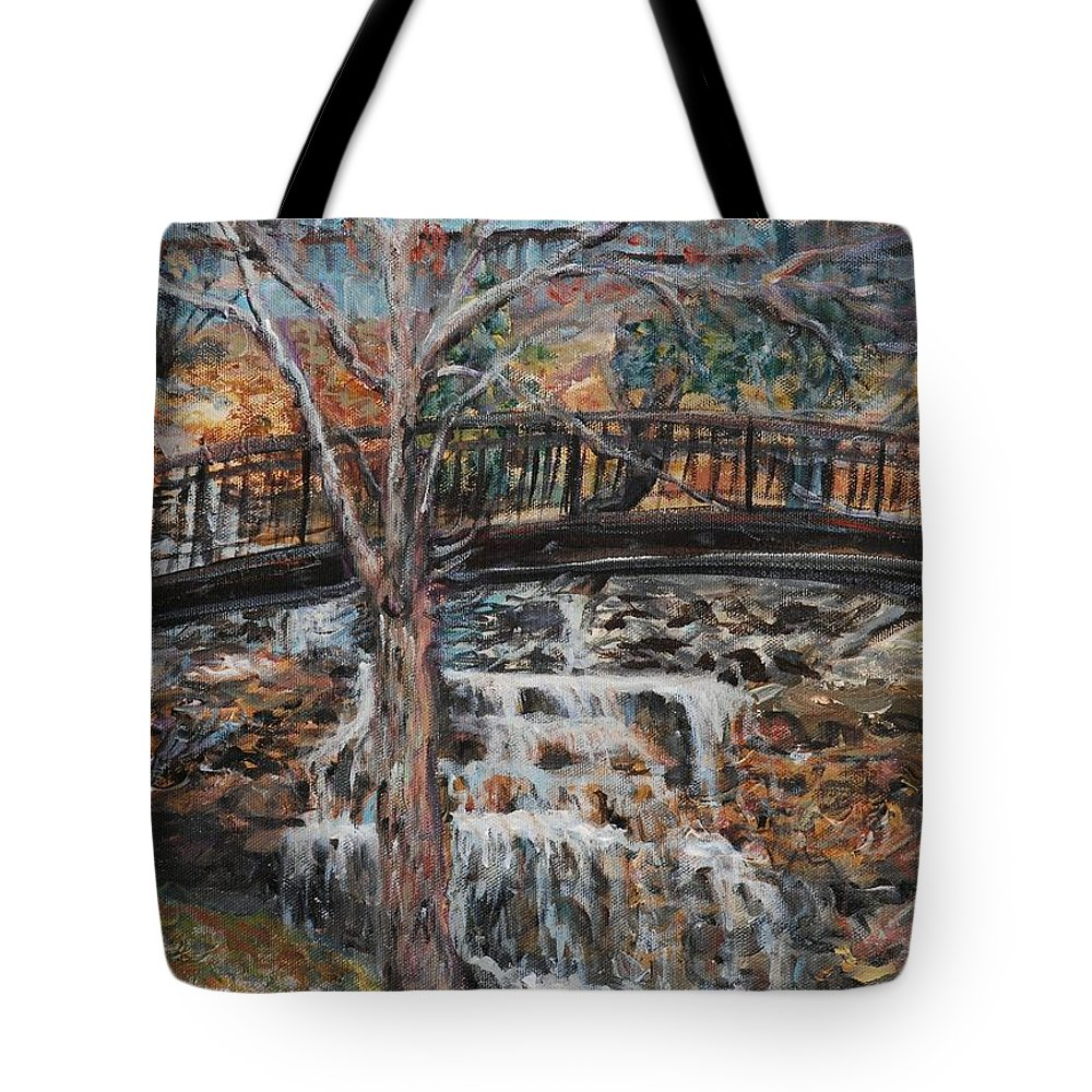 Waterfalls Tote Bag featuring the painting Memories by Nadine Rippelmeyer