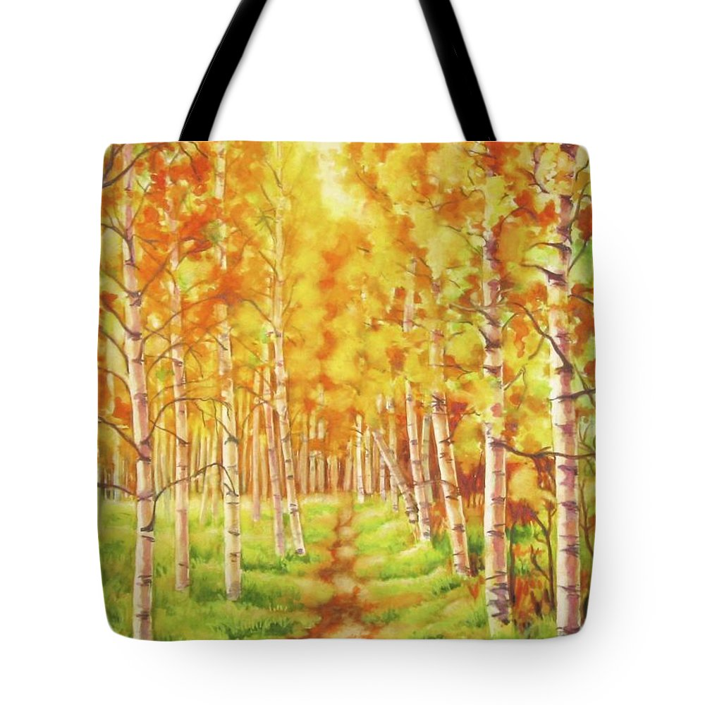 Tree Tote Bag featuring the painting Memories Of The Birch Country by Inese Poga