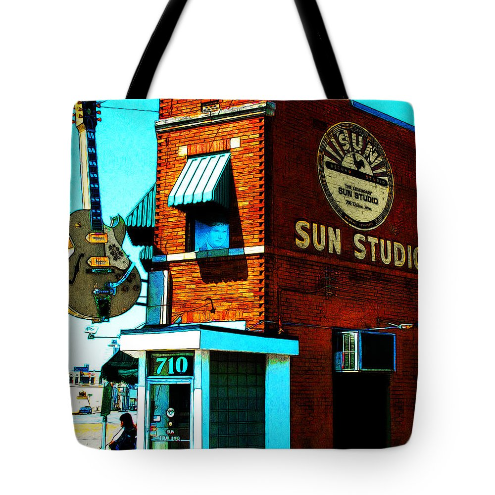 Music Tote Bag featuring the photograph Memphis Sun Studio Birthplace Of Rock And Roll 20160215sketch by Wingsdomain Art and Photography