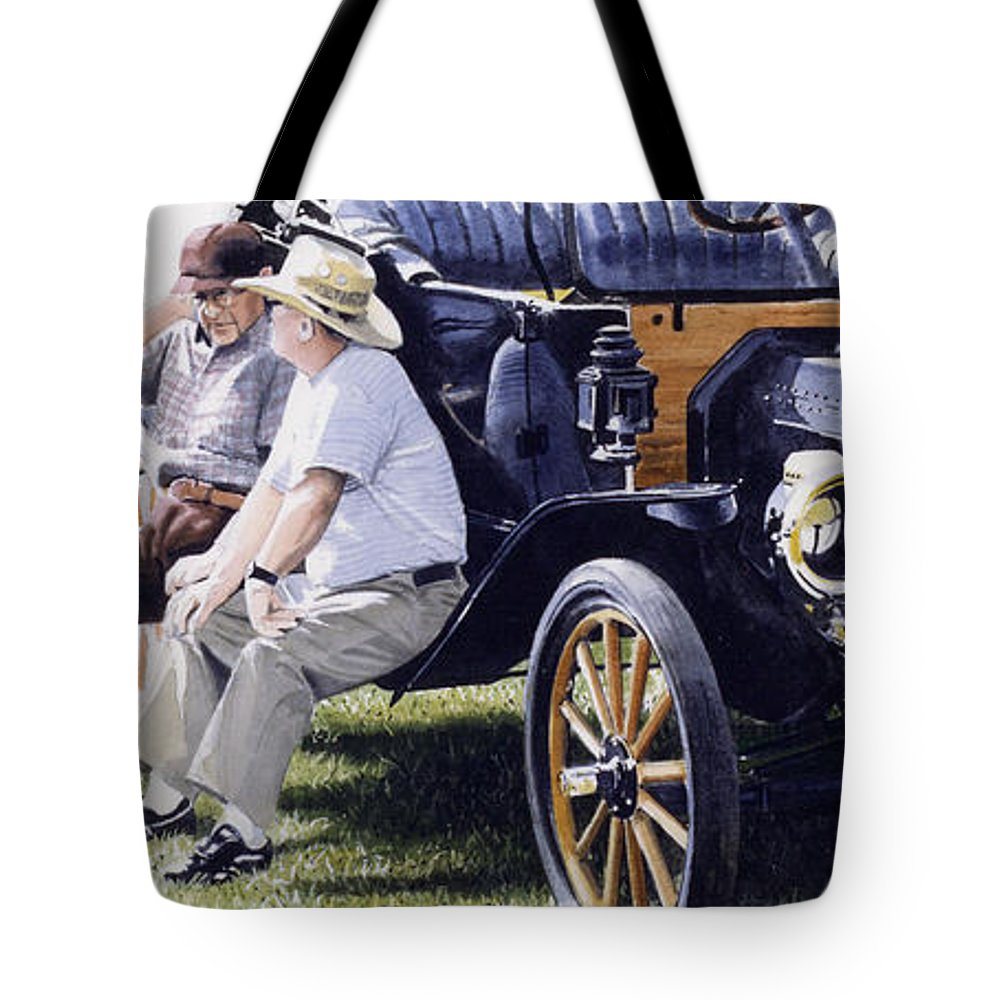Antique Cars Tote Bag featuring the painting Men And Their Toys by Denny Bond