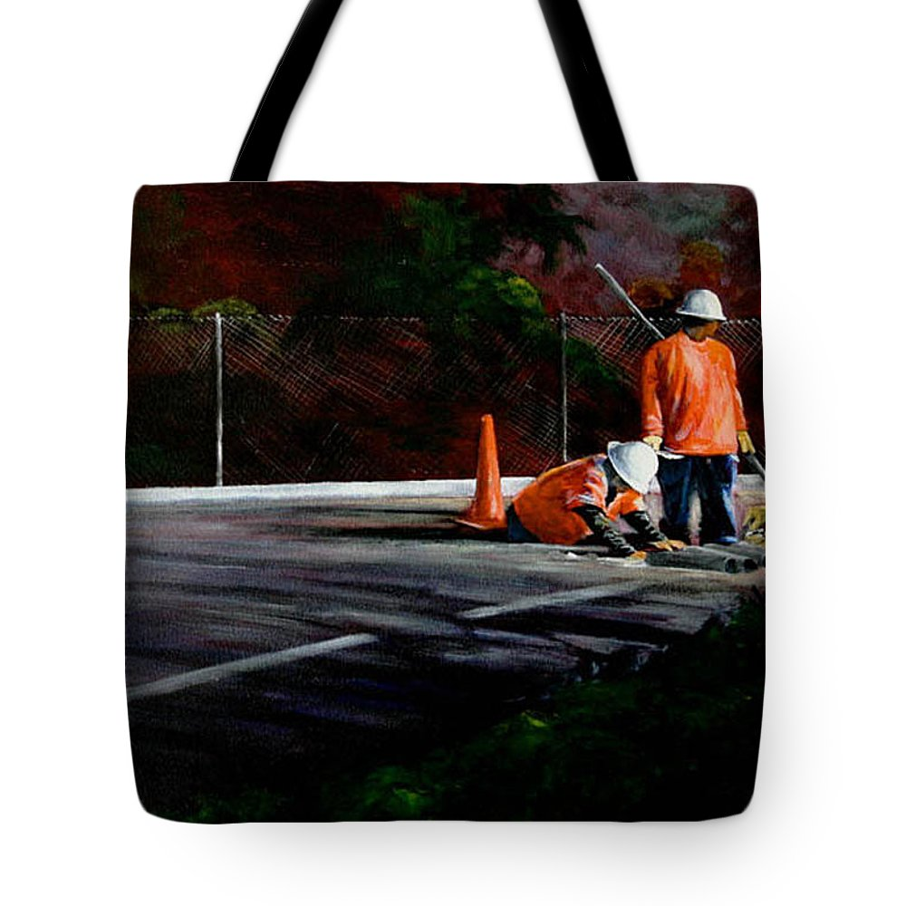 Construction Tote Bag featuring the painting Men At Work II by Duke Windsor
