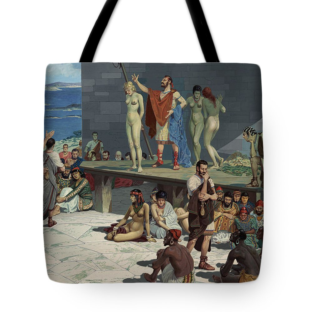 b27245b1745e Illustration Tote Bag featuring the photograph Men Bid On Women At A Slave  Market by H.M.