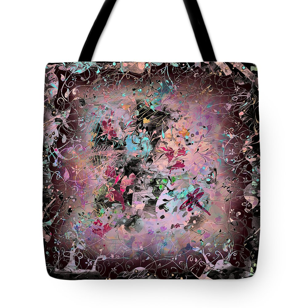 Abstract Tote Bag featuring the digital art Menagerie by William Russell Nowicki