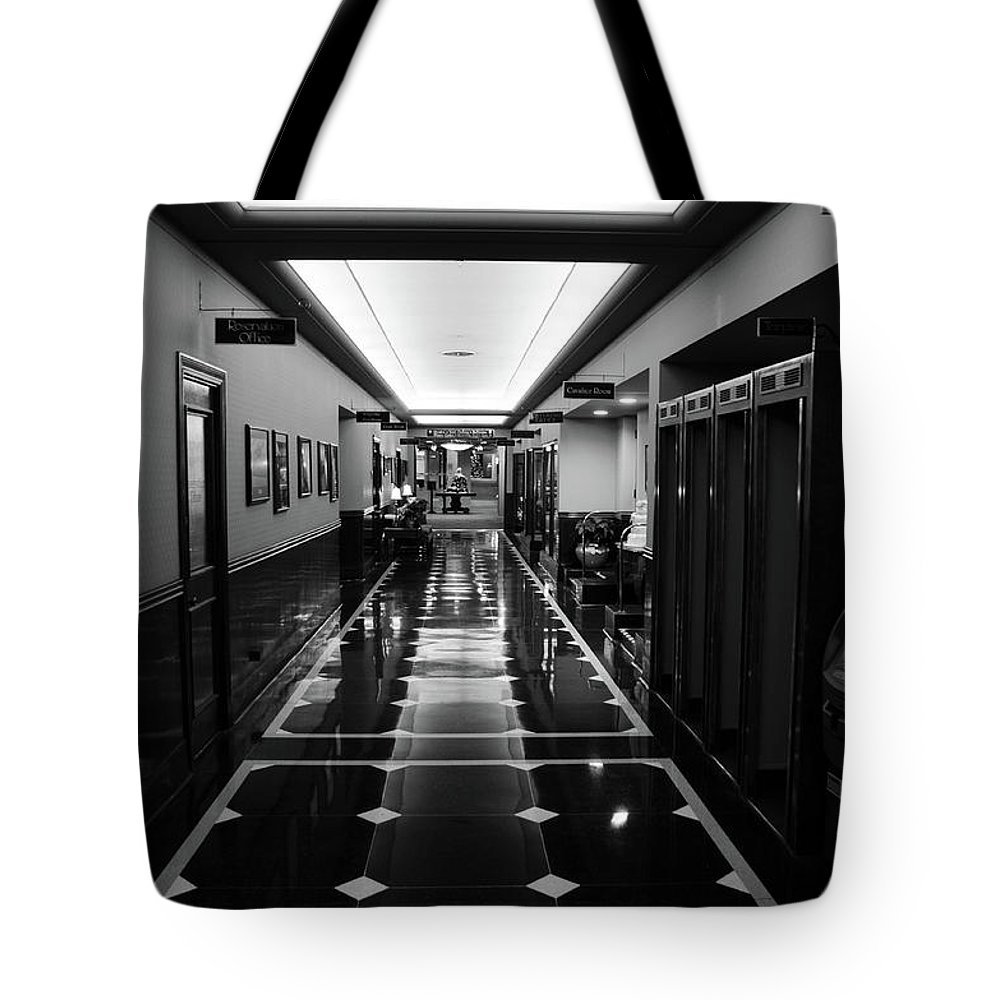 Hotel Tote Bag featuring the photograph Menger Hotel Hall by Robert A Jones