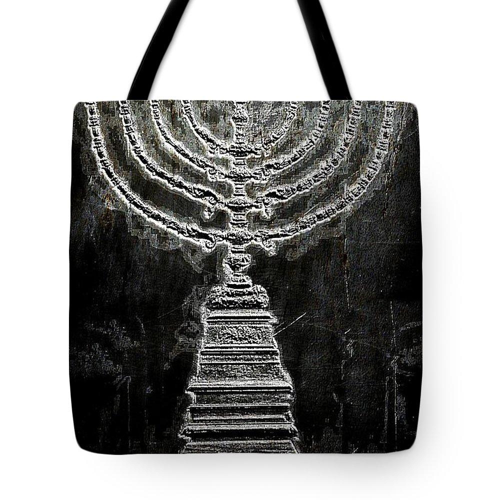 Menorah Tote Bag featuring the photograph Menorah by Aaron Berg