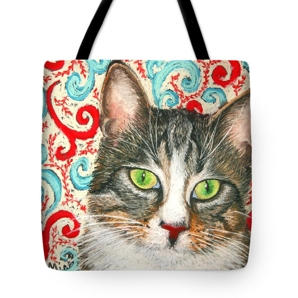 Cat Tote Bag featuring the painting Meow Please... by Minaz Jantz