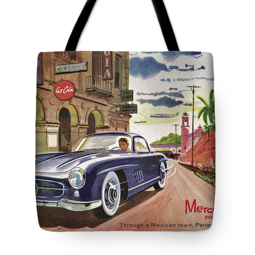 Poster Tote Bag featuring the digital art Mercedes 300 Sl by Steven Parker