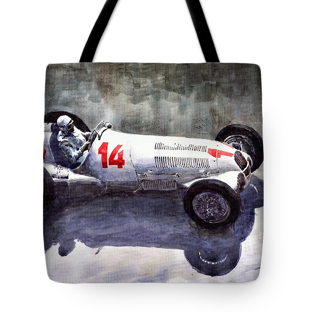 Auto Tote Bag featuring the painting Mercedes Benz W 125 1937 Swiss Gp R Caracciola by Yuriy Shevchuk