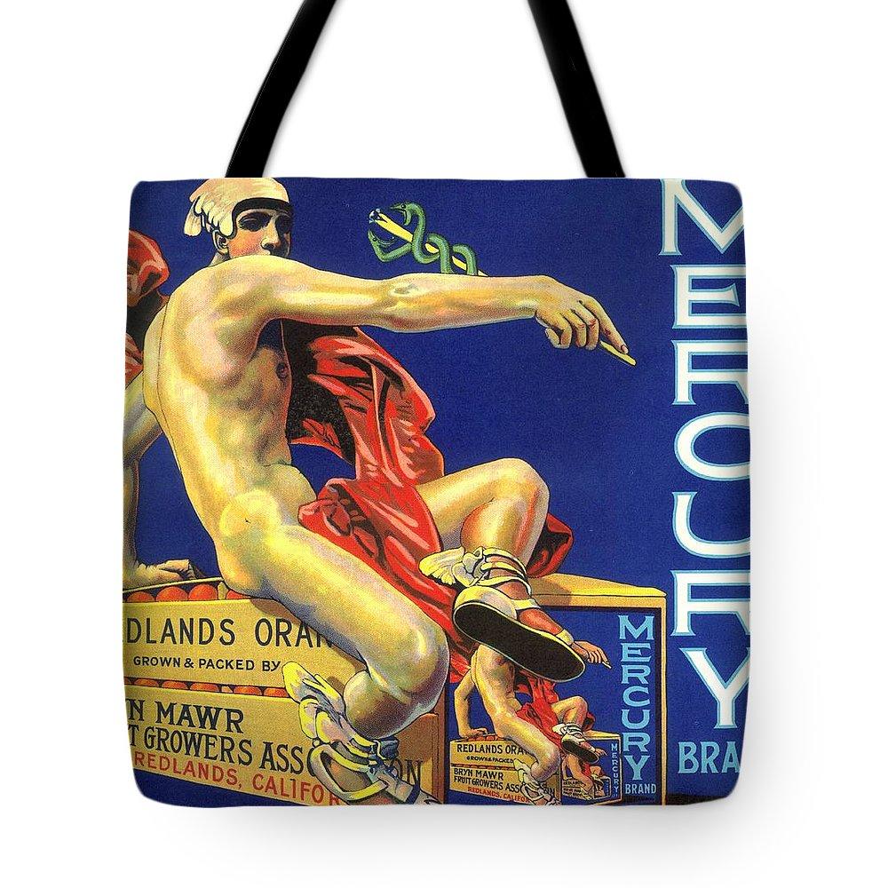 Mercury Tote Bag featuring the digital art Mercury Greek God Label by Marianne Dow