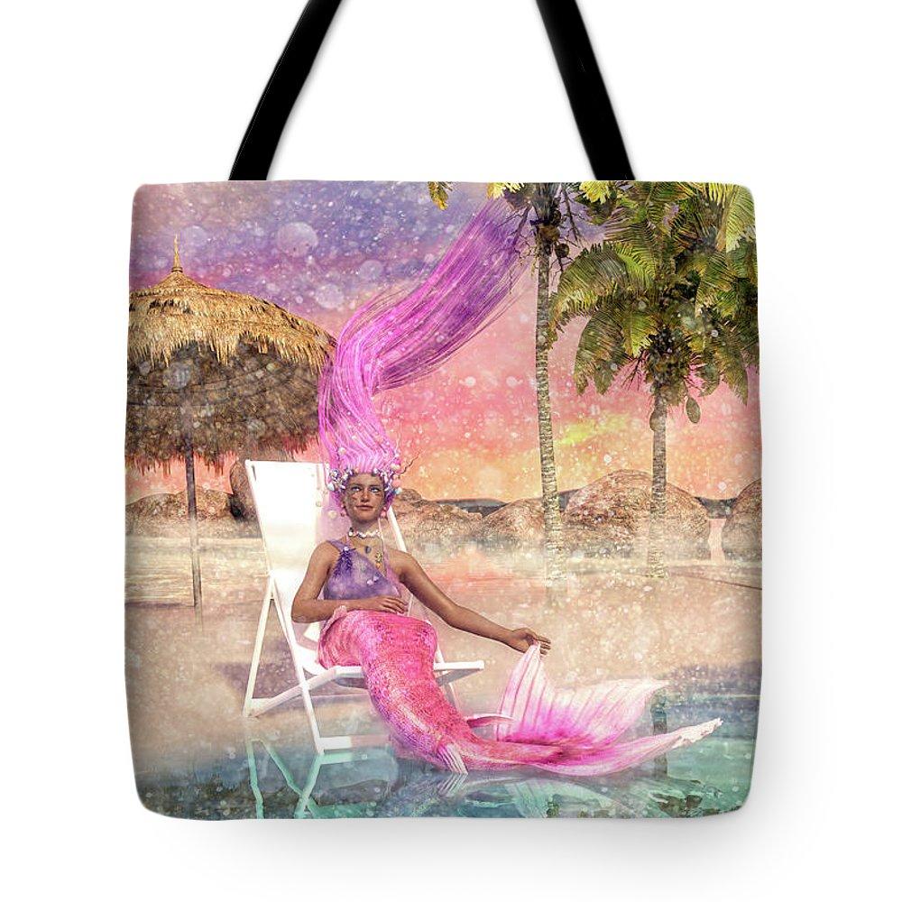 Mermaid Tote Bag featuring the digital art Mermaid By The Sea by Betsy Knapp