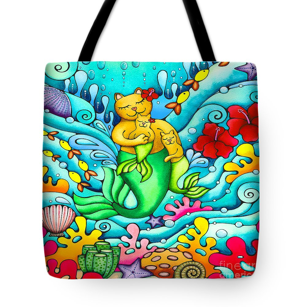 Mermaid Cat Tote Bag featuring the painting Mermaid Cat And Baby Kitten by Holly Kitaura