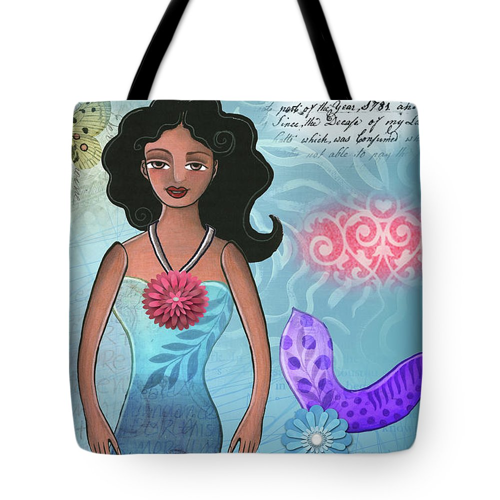 Mermaid Tote Bag featuring the mixed media Mermaid Dream 1 by Elaine Jackson