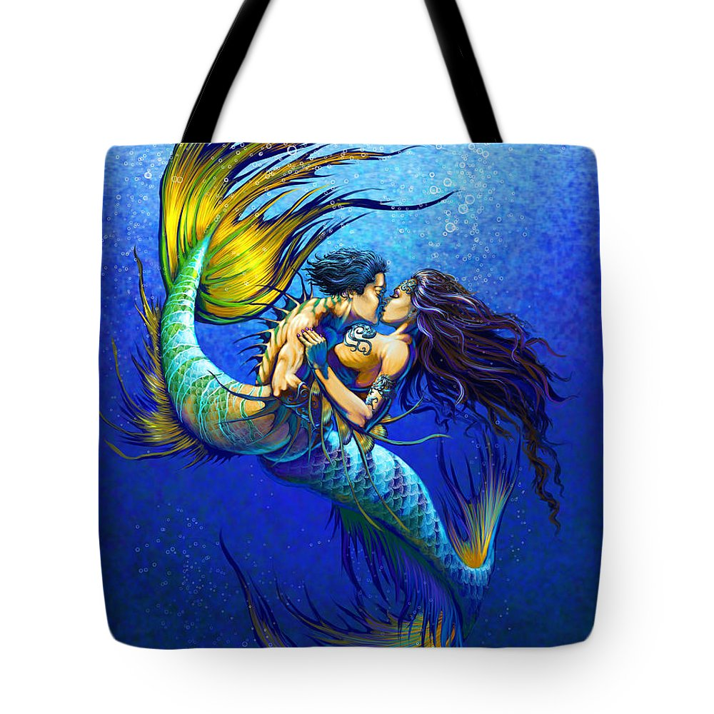 Mermaid Tote Bag featuring the painting Mermaid Kiss by Stanley Morrison