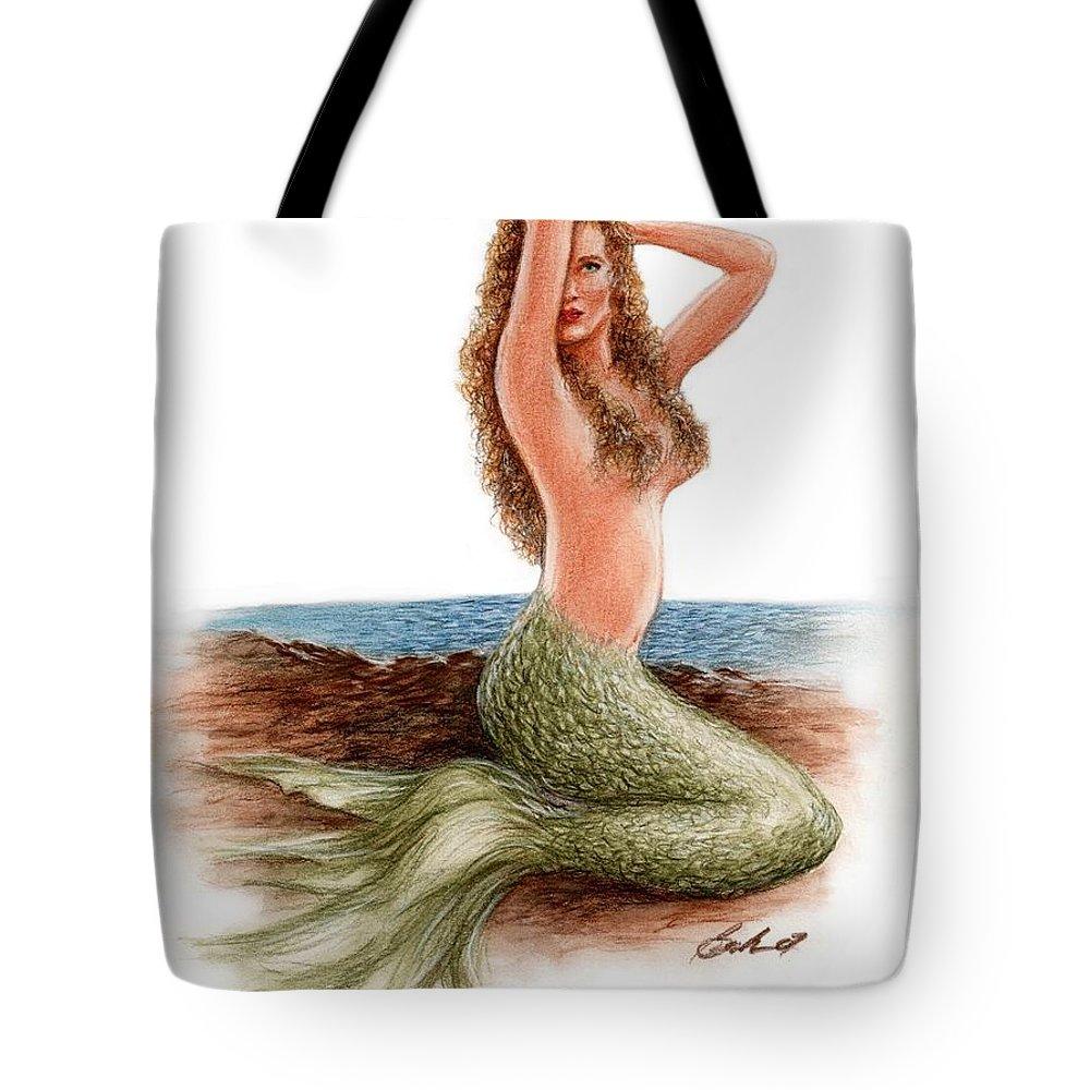 Mermaid Art Bruce Lennon Tote Bag featuring the painting mermaid On The Shore by Bruce Lennon
