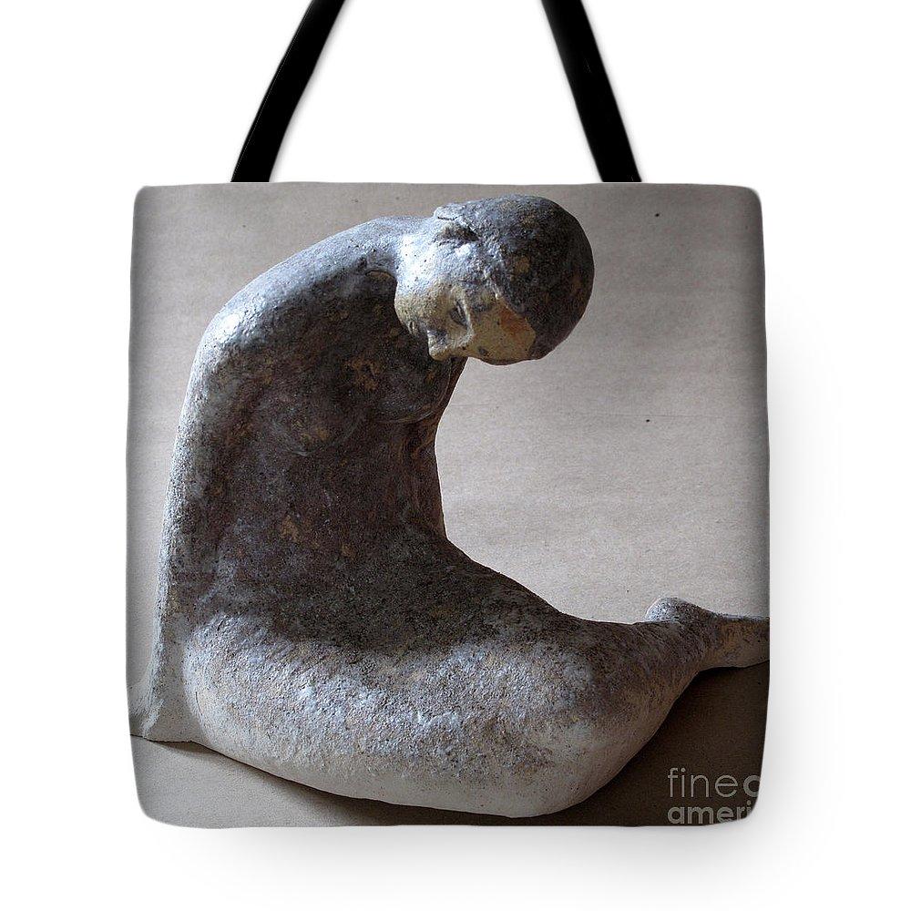 Sculpture Tote Bag featuring the sculpture Mermaid by Raimonda Jatkeviciute-Kasparaviciene