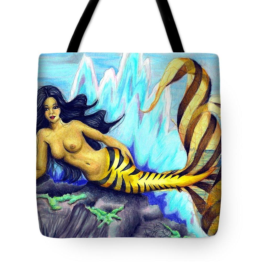 Mermaid Tote Bag featuring the drawing Mermaid by Scarlett Royal