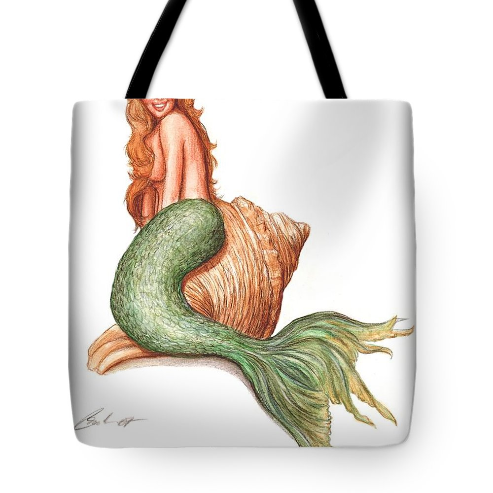 Mermaid Art Bruce Lennon Tote Bag featuring the painting Mermaid Shell by Bruce Lennon
