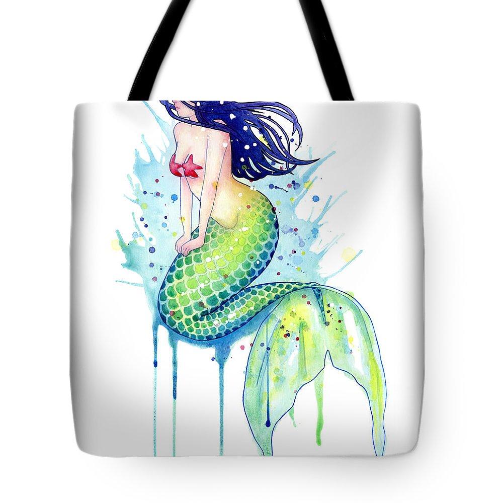 Mermaid Tote Bag featuring the painting Mermaid Splash by Sam Nagel