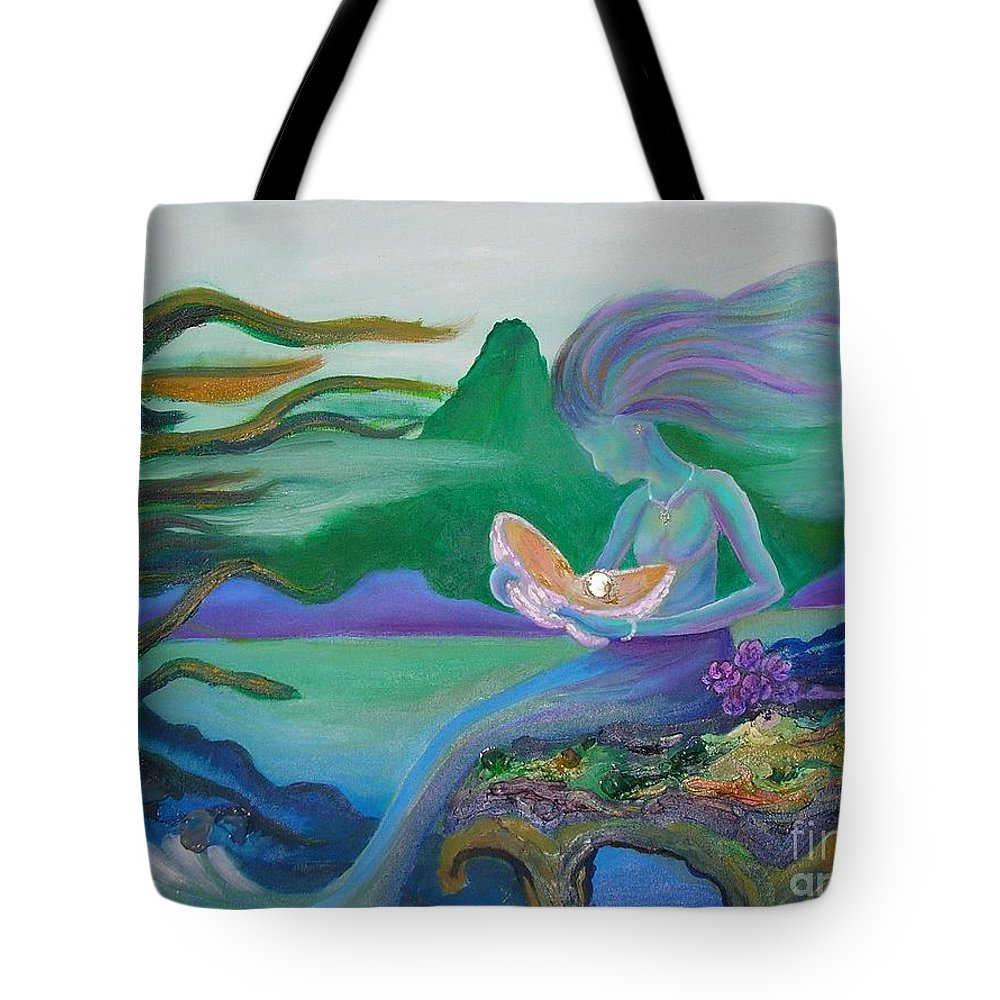 Mermaid Tote Bag featuring the painting Mermaid With Oyster by Morgan Leshinsky
