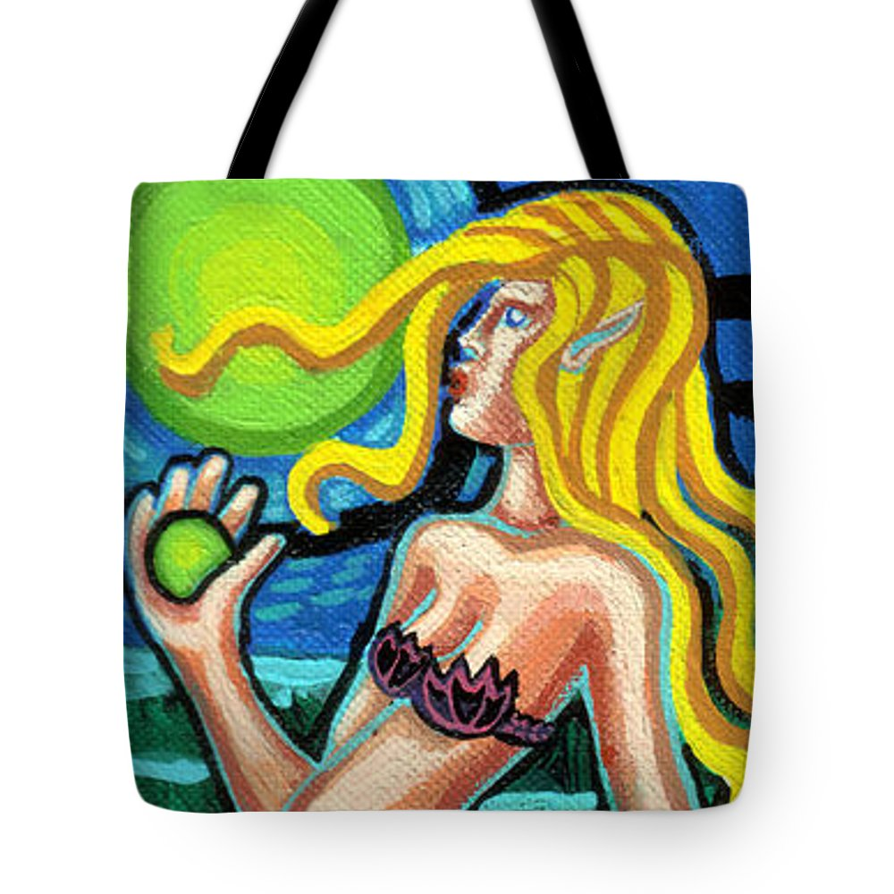 Mermaid With Pearl. Deep Blue Ocean Tote Bag featuring the painting Mermaid With Pearl by Genevieve Esson