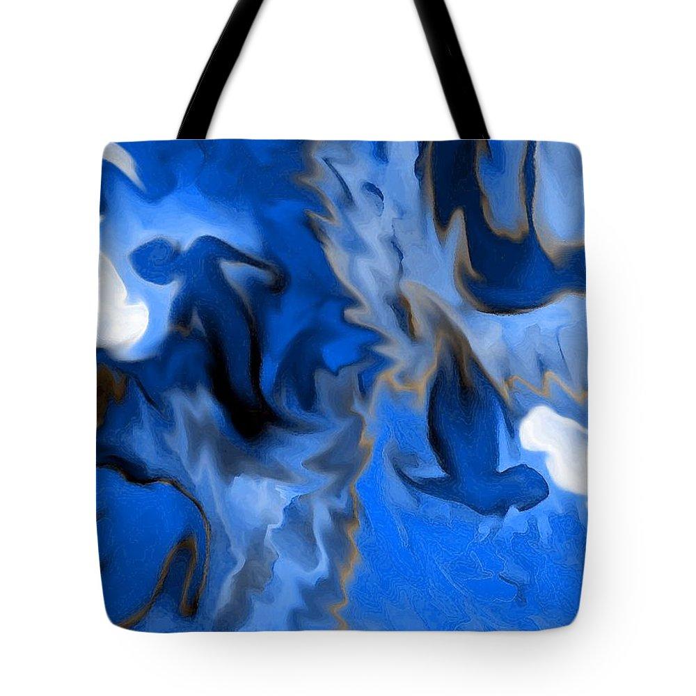 Mermaids Tote Bag featuring the digital art Mermaids by Shelley Jones