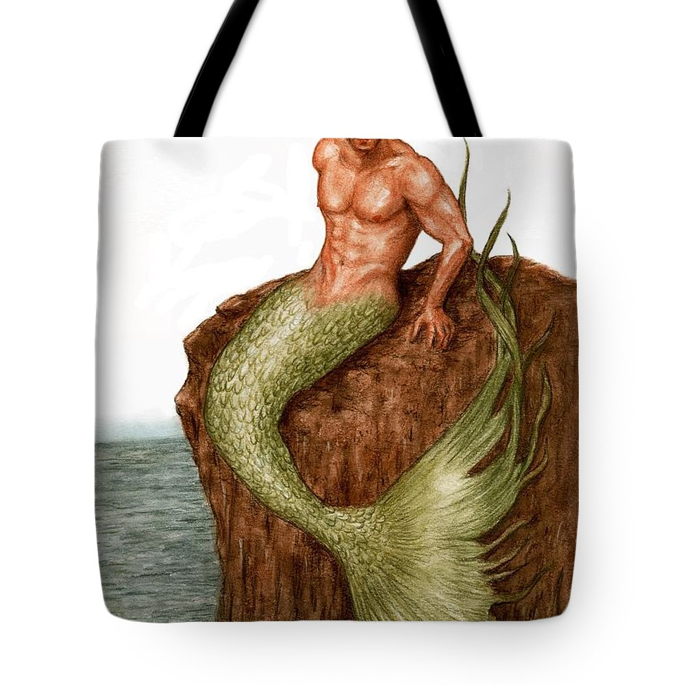 Merman Mermaid Art Bruce Lennon Tote Bag featuring the painting Merman On The Rocks by Bruce Lennon