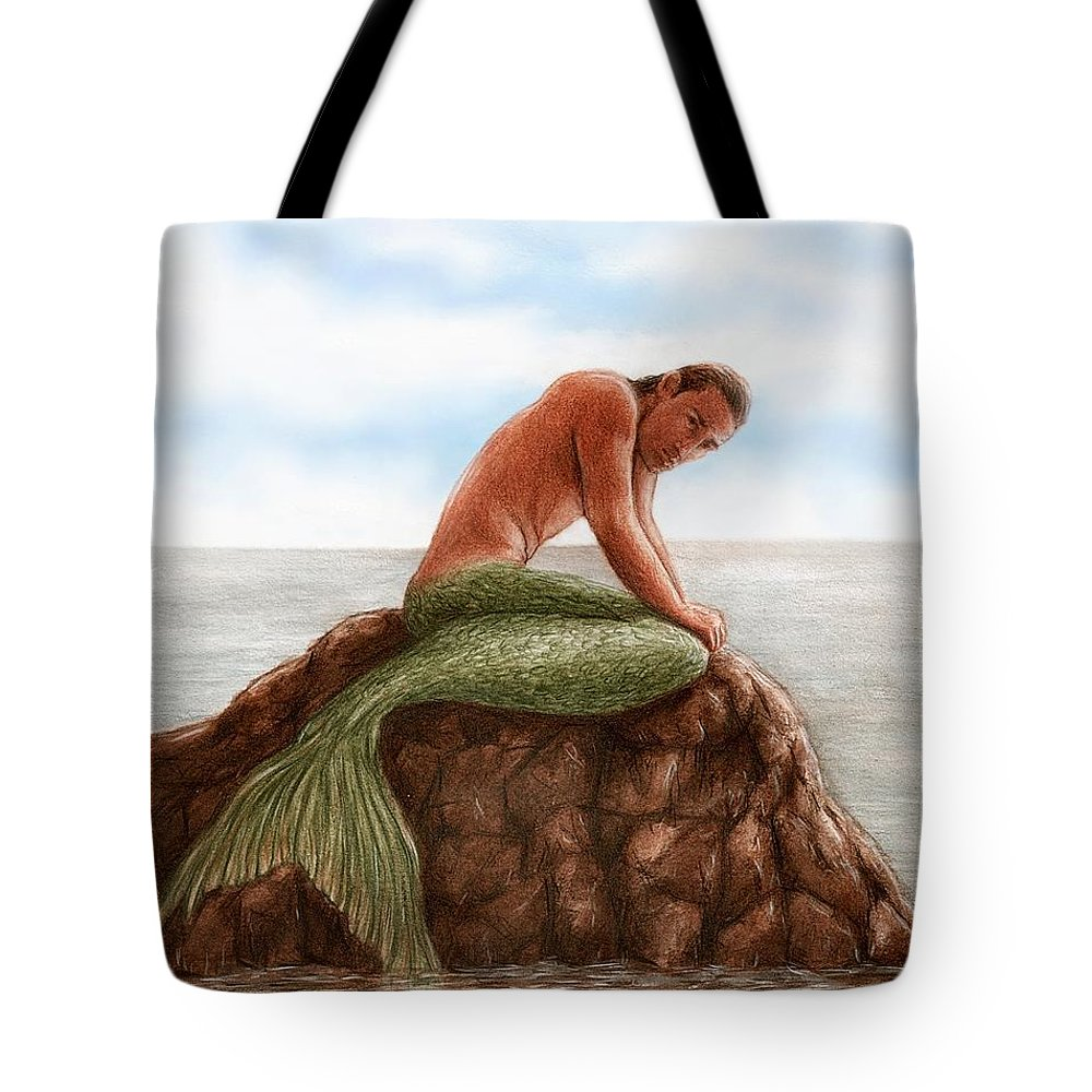 Merman Mermaid Bruce Lennon Art Tote Bag featuring the painting Merman Resting by Bruce Lennon