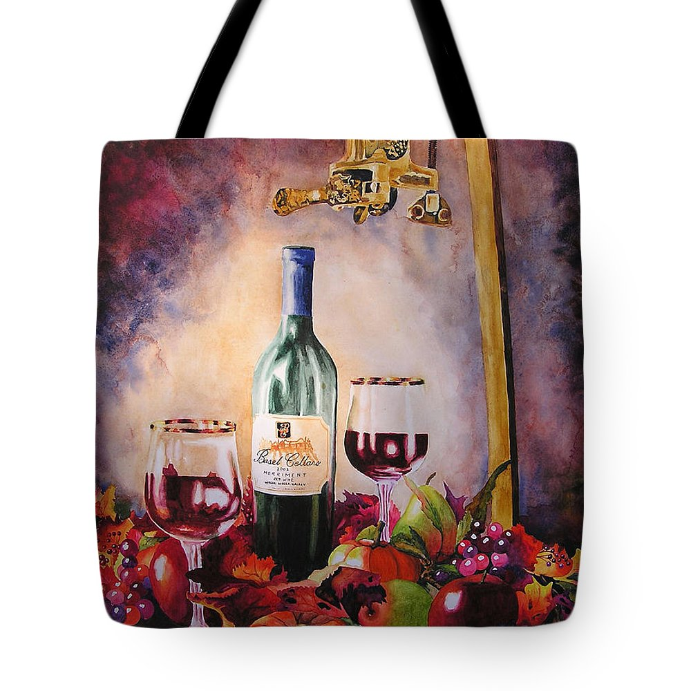 Wine Tote Bag featuring the painting Merriment by Karen Stark