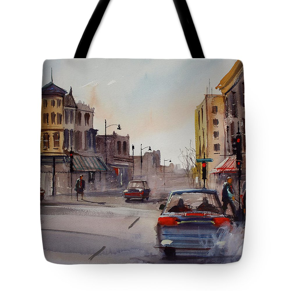 Paintings Tote Bag featuring the painting Merritt And Main by Ryan Radke