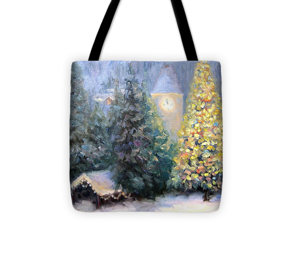 Christmas Tote Bag featuring the painting Merry Christmas From Vail by Bunny Oliver
