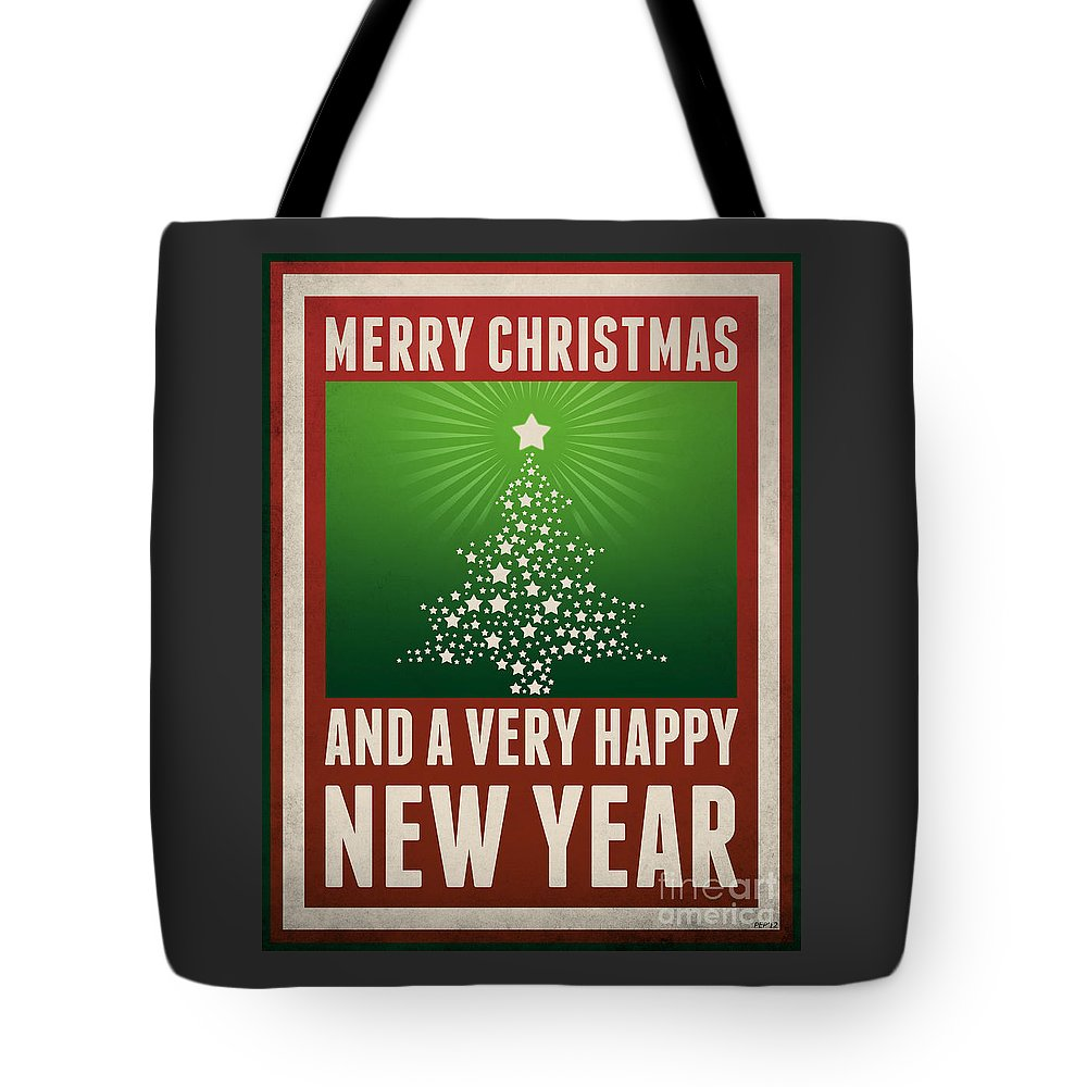 Graphic Design Tote Bag featuring the digital art Merry Christmas by Phil Perkins