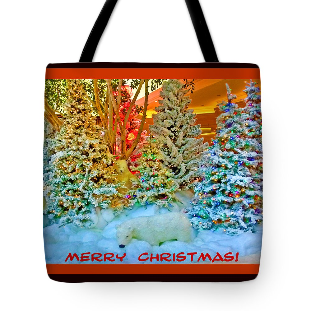 Digital Art Tote Bag featuring the digital art Merry Christmas Polar Bears by Marian Bell