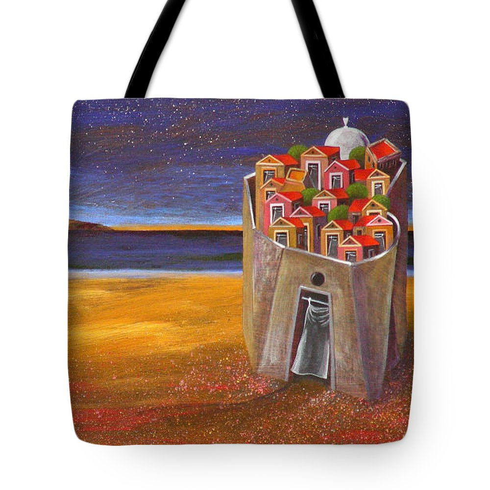 Superrealism Tote Bag featuring the painting Mesi Castle Village by Dimitris Milionis