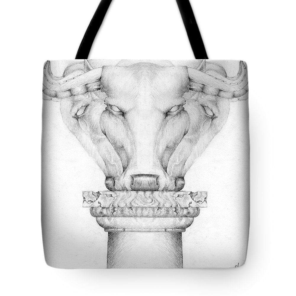 Bull Tote Bag featuring the drawing Mesopotamian Capital by Curtiss Shaffer