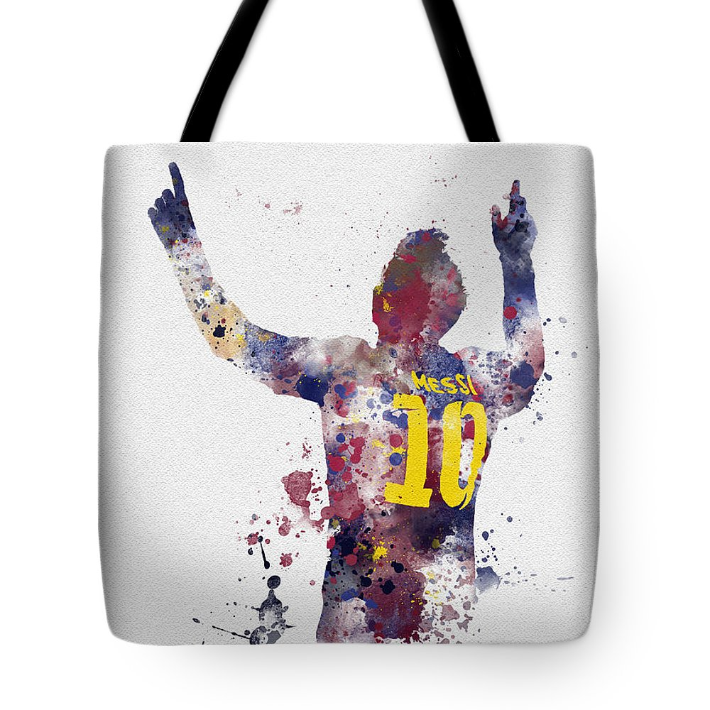 Messi Tote Bag featuring the mixed media Messi by My Inspiration