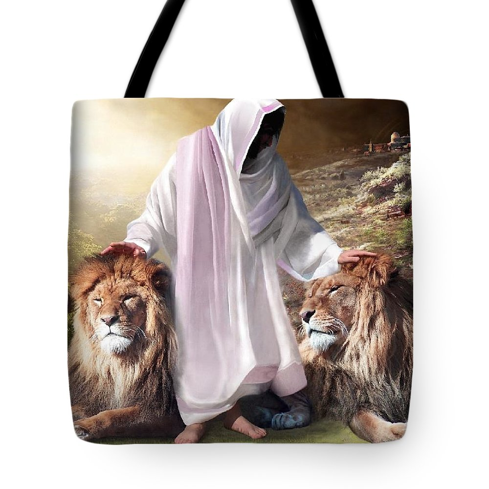 Spiritual Tote Bag featuring the digital art Messiah Israel And Judah by Bill Stephens