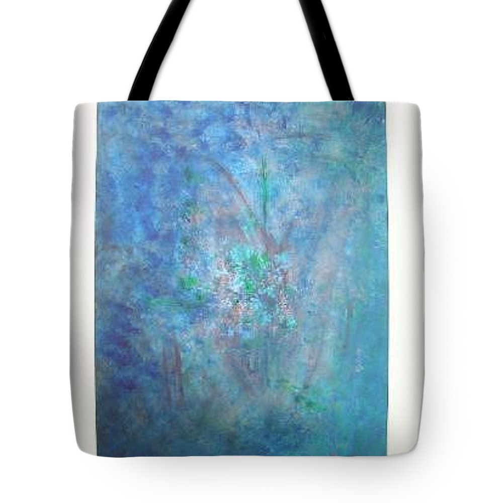 Metal Tote Bag featuring the painting Metal And Water Abstract. by Lizzy Forrester