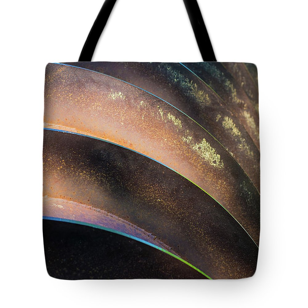 Metal Tote Bag featuring the photograph Metal Spiral Right by Lea Rhea Photography