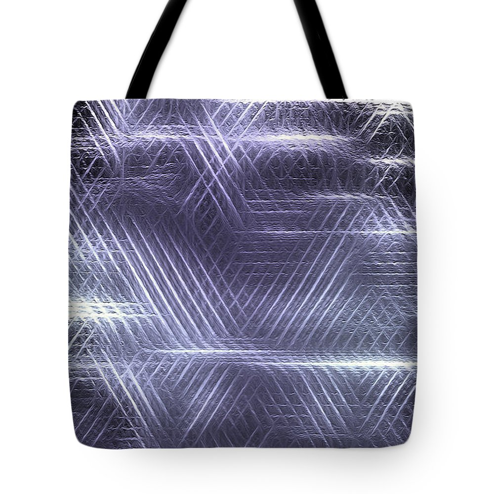 Abstract Tote Bag featuring the digital art Metallic Cross Pattern by Danuta Bennett