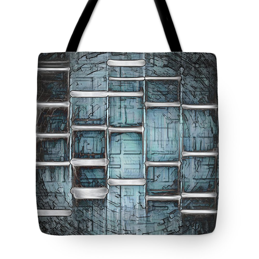 Unique Tote Bag featuring the painting Metallic Topaz Dna Art by Lisa Camper