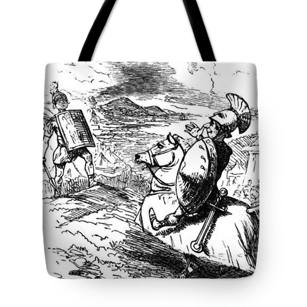 Metius Tote Bag featuring the painting Metius Aggravating Titus Manlius by Leech John